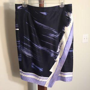 Banana Republic Blue Painted-Print Skirt